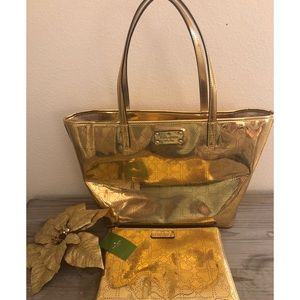 Kate Spade Large Gold Tote Bag And Clutch Set